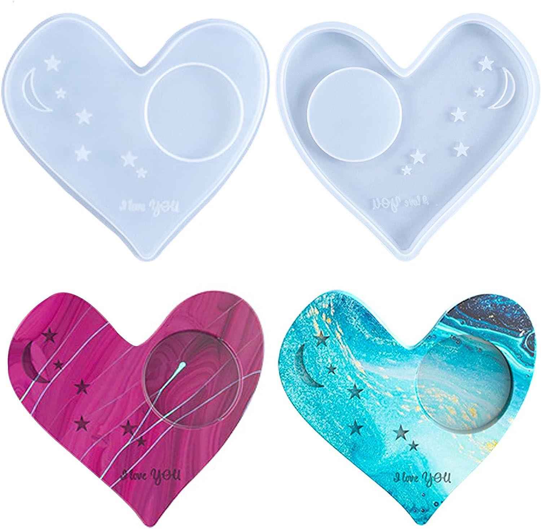 2 Pcs Heart Shape New mail order Coaster Resin New arrival Love Moon Molds Star C Creative