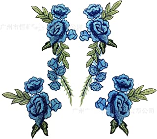 2pcs/Set Blue Rose Applique Embroidery Flower Patches For Clothing Appliques Flores Sewing Flower Patches