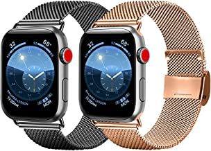 [Pack 2] Metal Band Compatible with for Apple Watch 38mm 40mm 42mm 44mm,Stainless Steel Mesh Breathable Loop with Adjustable Magnetic Closure Replacement Bands Compatible with iWatch Series 5/4/3/2/1