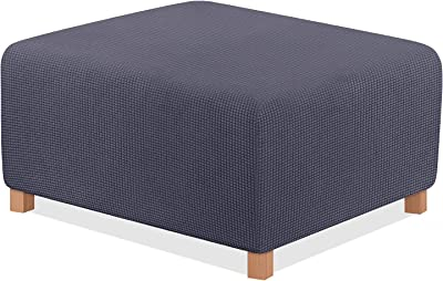 TAOCOCO Ottoman Cover Rectangle Storage Ottoman Slipcover Stretch Foot Rest Stool Covers Furniture Protectors Spandex Jacquard Fabric with with Elastic Bottom Dark Grey