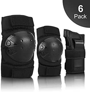 IPSXP Knee Pads Set, Protective Gear for Kid Children Teenager Adult with Knee Elbow Wrist Pads for Rollerblading, Skating, Skateboard, Scooter, Biking, Cycling (M/L)