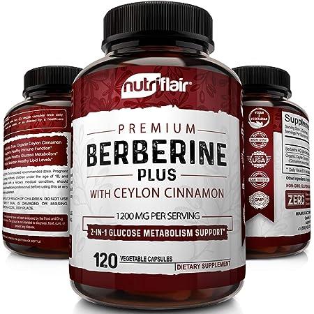 NutriFlair Premium Berberine HCL 1200mg Plus Pure, True Ceylon Cinnamon - 120 Capsules - Healthy Blood Sugar, Glucose Metabolism, Immune System, Insulin Support - Berberine HCI Root Supplement Pills