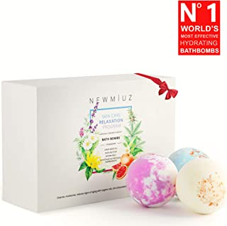 NewMiuz Organic Hemp Bath Bombs. Rich in Essential Oils, Lush Shea & Coco Butter, 6 Natural and Handmade Skin Care Bubble Bath Fizzies for Women, Kids, Him/Her, Perfect Gift Set to Moisturize Dry Skin