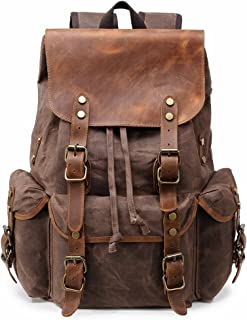 Kemy's Mens Waxed Canvas Backpack Leather Rucksack for Men Wax Leather Backpacks Travel Vintage Bookbag with Laptop Compartment Rustic Large Waterproof Coffee Easter Gifts