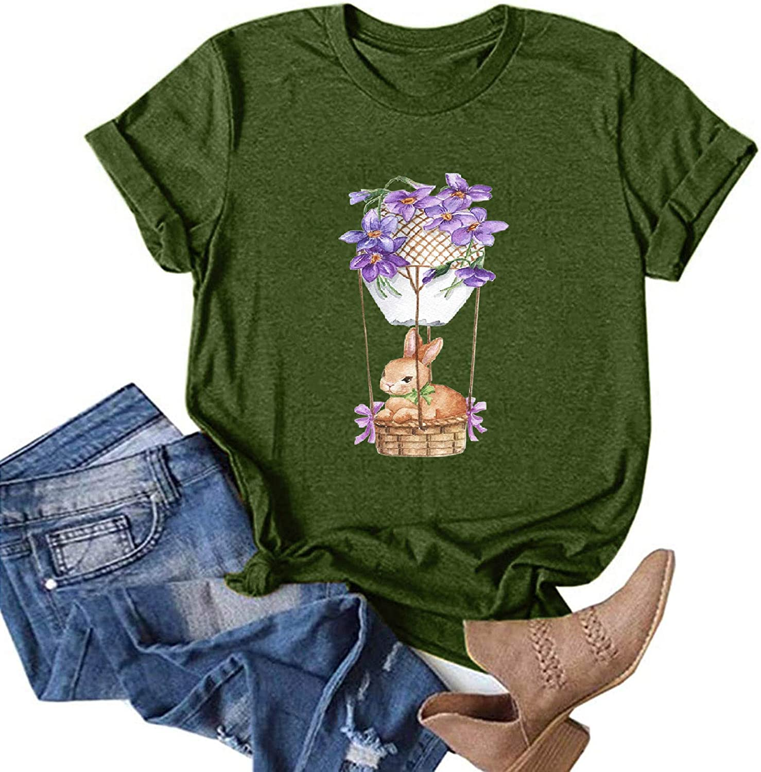 BEIBEIA Women Easter Bunny Printing Short Tee O-Neck Free Shipping New Max 48% OFF T-Sh Sleeve