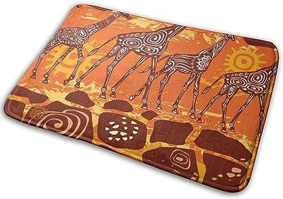 "Giraffes and Ethnic MotifsDoormat Entrance Mat Floor Mat Rug Indoor/Bathroom Mats Rubber Non Slip (23.6""x15.7"",L x W)…"