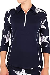 Women's Firecracker Collection Quarter Zip 3/4 Sleeve Raglan Polo Shirt