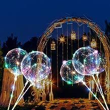 4 PCS Globos LED de 16 pulgadas con barras de soporte Globos LED transparente de Bobo Globos para cumpleaños, bodas, celebraciones, multicolor