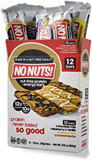 No Nuts! Protein Bars Energy Bars - 100% Nut Free Dairy Free Vegan Protein Bars, Vegan Protein Bars Variety Pack of 12, Or...