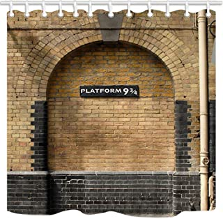 NYMB Platform 9 and 3/4 at London's King's Cross Station Brown Wall Vintage Shower Curtain, Magic Kids Bathroom Decorations, Polyester Fabric Bath Curtains Hooks Included, 69X70 inches
