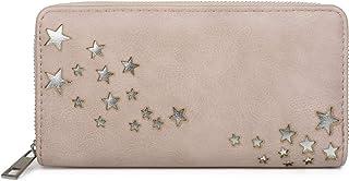 styleBREAKER Cartera de Mujer con recortados metálicos en Forma de Estrella, Cremallera, Monedero 02040115, Color:Rosa Palo