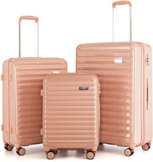 """Coolife Luggage Suitcase 3 Piece Set expandable (only 28"""") ABS+PC Spinner suitcase with TSA Lock carry on 20 in 24in 28in..."""