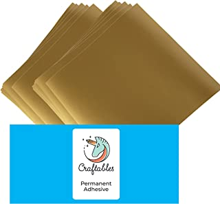 Craftables Gold Vinyl Sheets - Permanent, Adhesive, Glossy & Waterproof | (10) 12