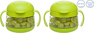 Ubbi cute BPA-free twin pack tweat snack container with attached lid and soft spill-proof guard, Green