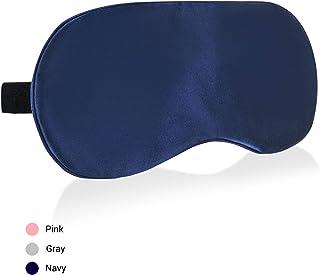 COLD POSH 16mm Silk Sleep Mask,Soft Eye Mask with Adjustable Strap,Eye Cover for Sleeping,Travel,Work,Meditation,Night Blindfold Eyeshade,Navy M