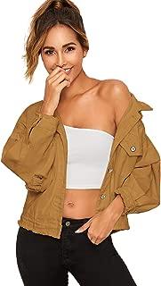 Floerns Women's Casual Ripped Frayed Hem Denim Jacket
