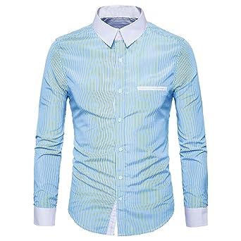Sannysis – Slim Fit Camisa de manga larga Ocio Camisa Business Camiseta Blusa De Impresión Top, M, azul claro, 1