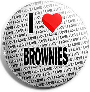 Grand badge à épingle I Love Brownies 75 mm – Cadeau – Anniversaire – Noël
