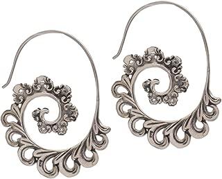 925 Sterling Silver Paisley Half Hoop Earrings 'Paisley Ferns'