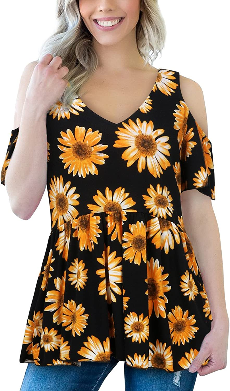 FANSIC Women's Cold Shoulder Blouse Tops,Summer Short Sleeve Floral V Neck Empire Waist Tunic Shirts