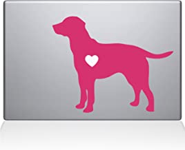 "The Decal Guru Labrador Retriever Love Silhouette Decal Vinyl Sticker, 12"" MacBook, Pink (2337-MAC-12M-BG)"