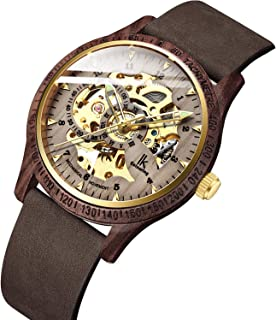 Bestn Men Watches, Wood Case Casual Lumious Automatic Mechanical Skeleton Wrist-Watch Genuine Leather Band