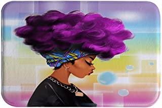 A.Monamour Traditional African Black Women with Purple Hair Afro Hairstyle Watercolor Portrait Picture Print Flannel Microfiber Anti-Slip Bath Mat Rug for Bathroom Bedroom Floormats 40x60cm / 16