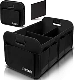 Foldable Trunk Storage Organizer, Reinforced Handles, Suitable for Any Car, SUV, Mini-Van Model Size, Black