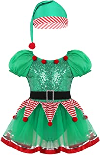 QinCiao Kids Girls Christmas Elf Green Costume Santas Claus Dress with Hat Outfit Xmas Cosplay Party Festival Dress up