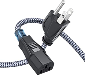 Power Cord, Goalfish 10A 18AWG AC Power Cable 10FT(3m) Nylon Braided 3 Prong Power Cord Replacement Power Cable UL Certified for Computer, TV, Monitor, Printer, PC, Projector, Power Supply