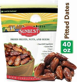 Sunbest Sun-Dried Pitted Dates in Resealable Bag,Premium Quality, Gluten Free - Non GMO - Vegan - Kosher (2.5 Lb)