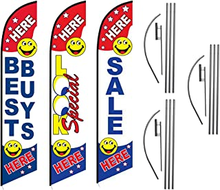 Best Buys Look Special Sale Here Advertising Feather Flag Kits Package, Includes 3 Banner Flags, 3 Flag Poles, and 3 Ground Stakes by Feather Flag Nation