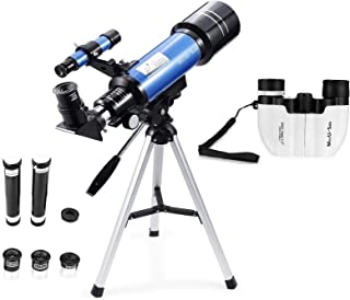 MaxUSee 70mm Refractor Telescope + 8X21 Compact HD Binoculars for Kids and Astronomy Beginners, Travel Telescope for Moon ...
