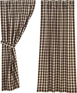 VHC Brands Rustic & Lodge Farmhouse Window Rory Brown Short Curtain Panel Pair, Chocolate