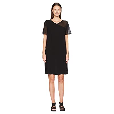 Eileen Fisher V-Neck Short Sleeve K/L Dress (Black) Women