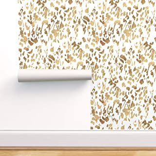Spoonflower Pre-Pasted Removable Wallpaper, Animal Gold White Modern Decor Leopard Mod Paint Abstract Texture Print, Water...