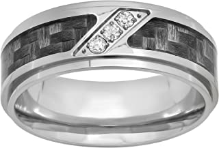 Jewelry Nation Men's Stainless Steel with Carbon Fiber Inlay Three Stone Diamond Slant Band (1/10 cttw, HI Color, I2I3 Clarity)