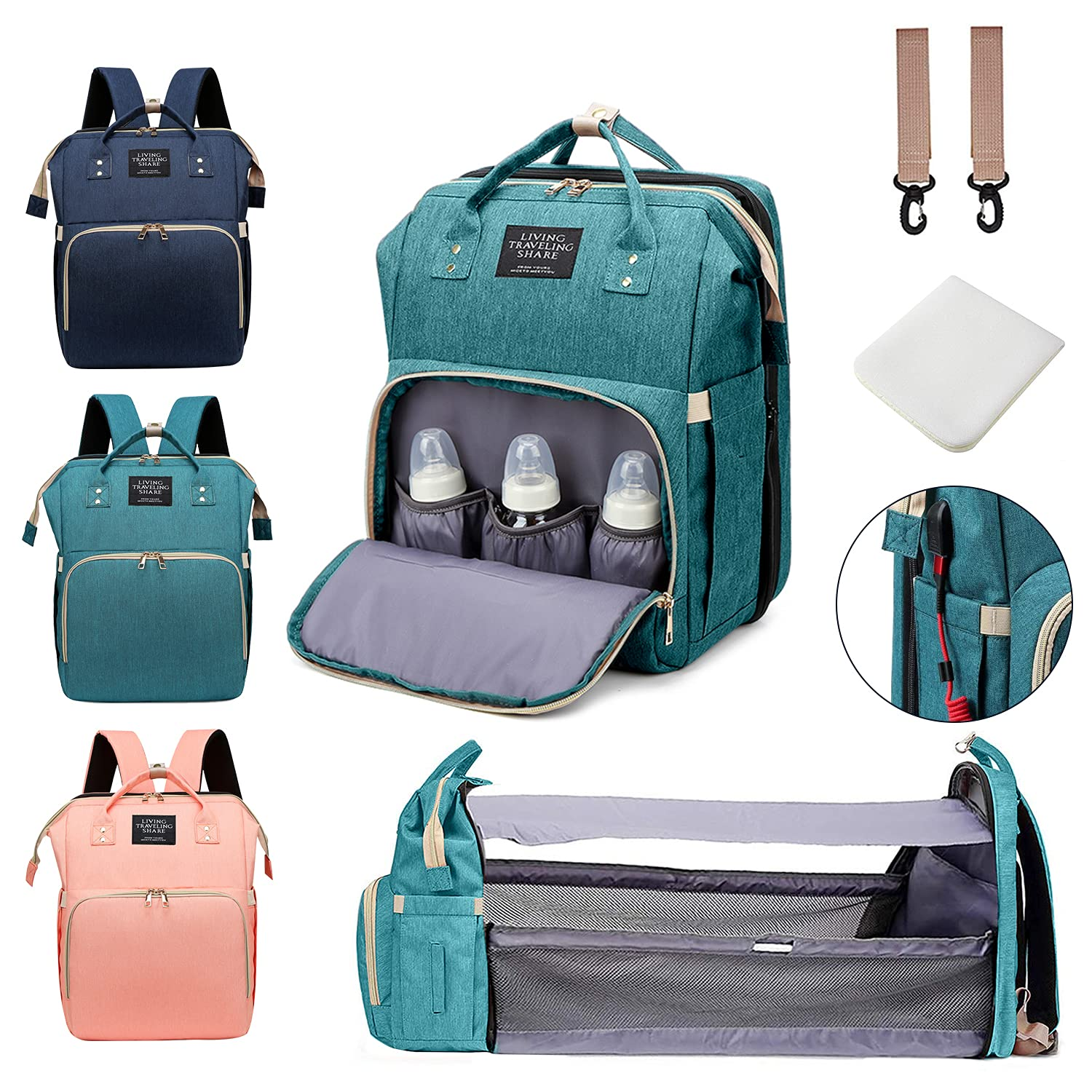 Gearsnug Diaper Bag Backpack with Changing Station Multi-Functional Baby Bag for Baby Boy Girl Newborn Toddler Mom Dad Men Folding Large-Capacity Diaper Bag with Changing Pad USB Charging Port(Teal)