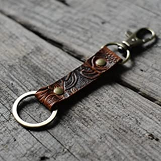 Leather Keychain/Walnut Leather Key Holder, Mens Keychain/Leather Key Ring, Leather Key Chain Genuine Leather Key Chain Ring Fob, Swivel Clasp Attaches to Belt Loops