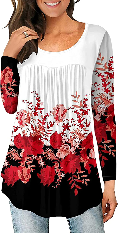felwors Pullover Tops for Women, Womens Tops Loose Gradient Crewneck Long Sleeve Casual Kawaii Pullover Sweatshirt