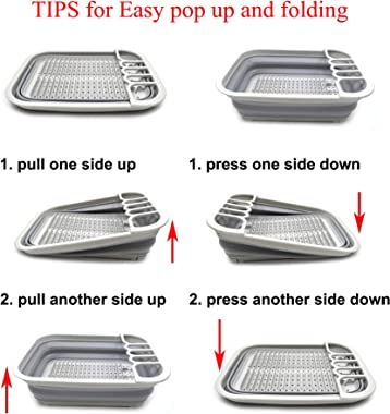 SAMMART Collapsible Dish Drainer with Drainer Board - Foldable Drying Rack Set - Portable Dinnerware Organizer - Space Saving