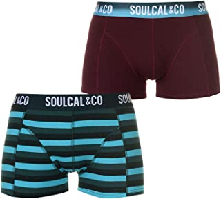 SoulCal Mens Trunks Boxers Pack of 2 Underwear Pattern Stretch Elasticated Waist
