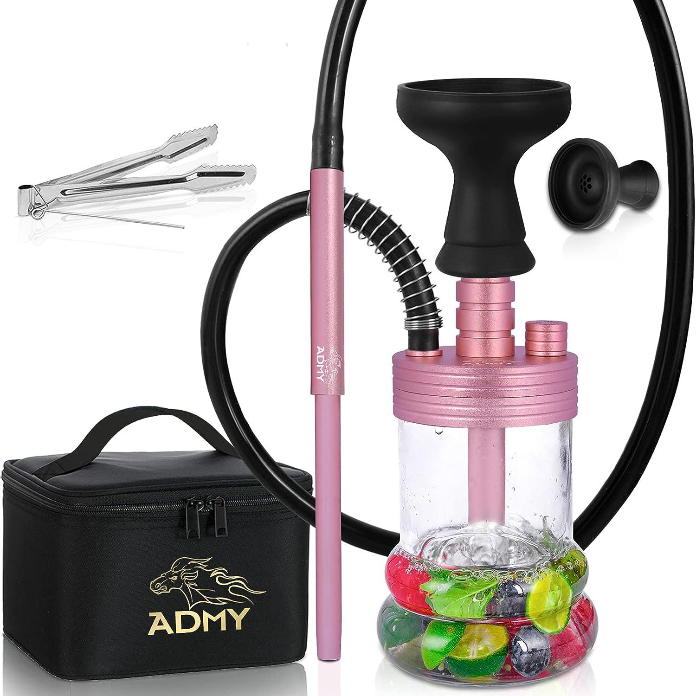 ADMY Hookah to go - Juego de mini shisha (aluminio, 28 cm, incluye accesorio para chimenea, cabezal de silicona, boquilla de buceo, difusor, resorte, pinzas, bolsa de viaje, color rosa)