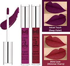 MI FASHION Liquid Matte Lipstick Deep Violet,Shimmer Cherry 3ml each (Combo of 2)