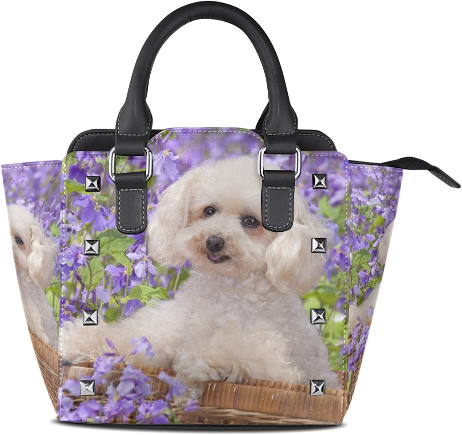 My Little Nest Women's Top Handle Satchel Handbag Dog Flowers Ladies PU Leather Shoulder Bag Crossbody Bag
