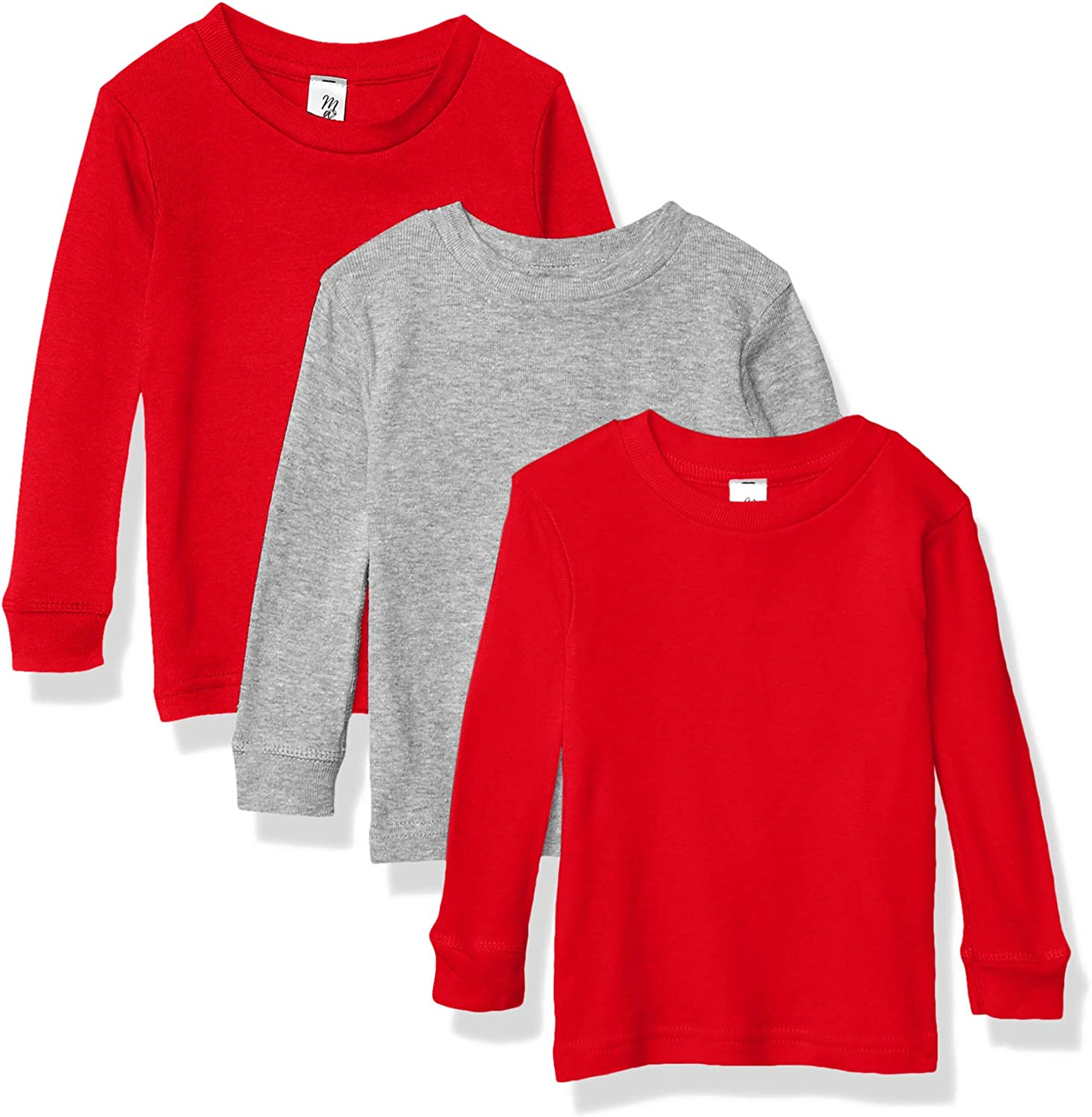 Pack of 3 Marky G Apparel Baby Girls Long Sleeve Round Neck Pajama Top
