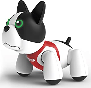 SHARPER IMAGE RC Toy Duke The Trainable Robotic Puppy Dog with Smart Bone, Virtual Robot Pet for Kids, Barks and Plays Tricks on Command, Responds to Touch and Voice