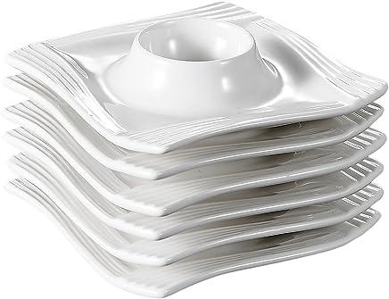 Preisvergleich für MALACASA, Serie Amparo, 6 TLG. Cremeweiß Porzellan Eierständer Set Eierbecher Eierhalter