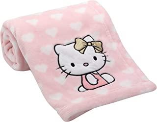 Lambs & Ivy Hello Kitty Hearts Blanket, Pink/White