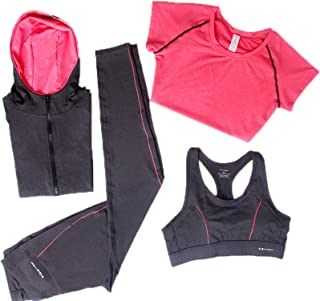 Elonglin Women's Activewear Sets 4pcs Sport Suits Fitness Yoga Running Athletic Tracksuits Quick Drying
